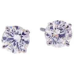 Tiffany & Co. 2.06 Carat Diamond Stud Earrings