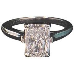 Tiffany & Co. 2.07 Radiant E VS1 Platinum Diamond Engagement Ring
