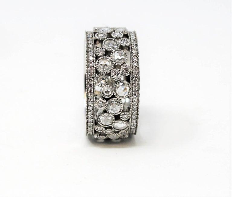 Round Cut Tiffany & Co. 2.10 Carat Rose-Cut Diamond Cobblestone Platinum Band Ring For Sale