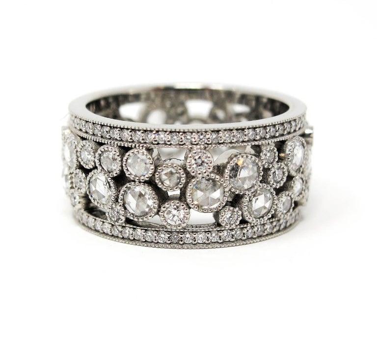 Tiffany & Co. 2.10 Carat Rose-Cut Diamond Cobblestone Platinum Band Ring In Good Condition For Sale In Scottsdale, AZ