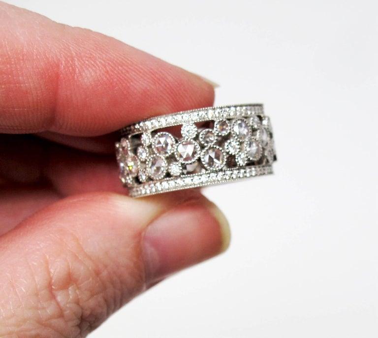 Women's Tiffany & Co. 2.10 Carat Rose-Cut Diamond Cobblestone Platinum Band Ring For Sale