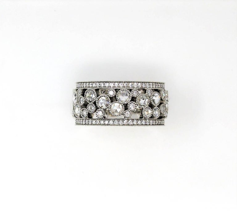 Tiffany & Co. 2.10 Carat Rose-Cut Diamond Cobblestone Platinum Band Ring For Sale 3