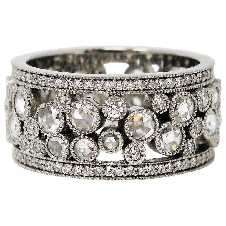 Tiffany & Co. 2.10 Carat Rose-Cut Diamond Cobblestone Platinum Band Ring For Sale