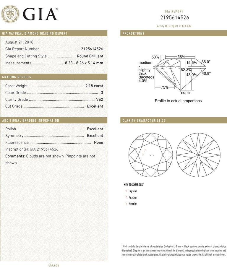 Baguette Cut Tiffany & Co. 2.18 Carat Round Brilliant Diamond Ring 'G/VS2'