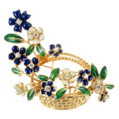 Tiffany & Co .22 Carat Diamond Enamel Yellow Gold Flower Basket Brooch