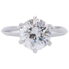 Tiffany & Co. 2.42 Carat Round Brilliant Centre Platinum Engagement Ring