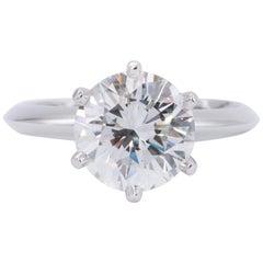 Tiffany & Co. 2.42 Carat Round Brilliant Centre Platinum Engagement Ring