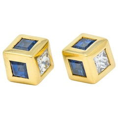 Tiffany & Co. 2.55 Carat Sapphire Diamond 18 Karat Gold Contemporary Earrings