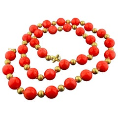 Tiffany & Co. Coral and 14KT Yellow Gold bead Necklace