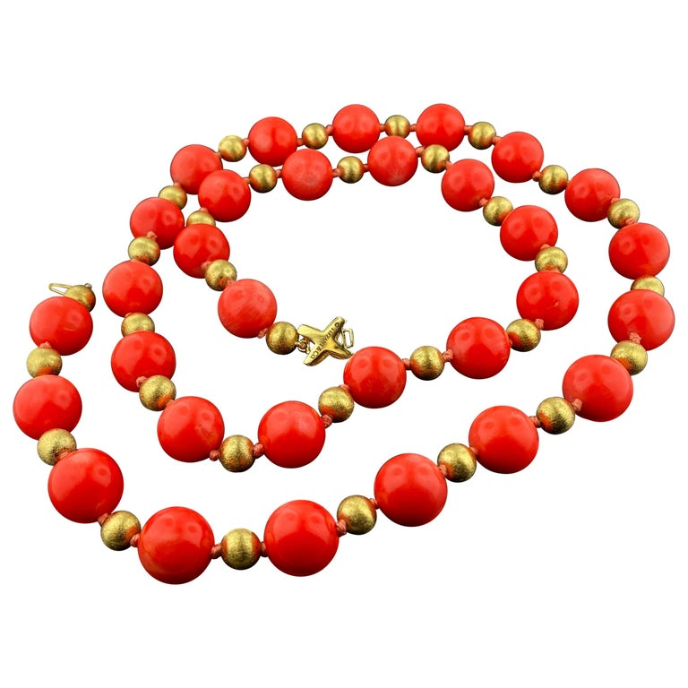 Tiffany & Co. Coral and 14KT Yellow Gold bead Necklace For Sale