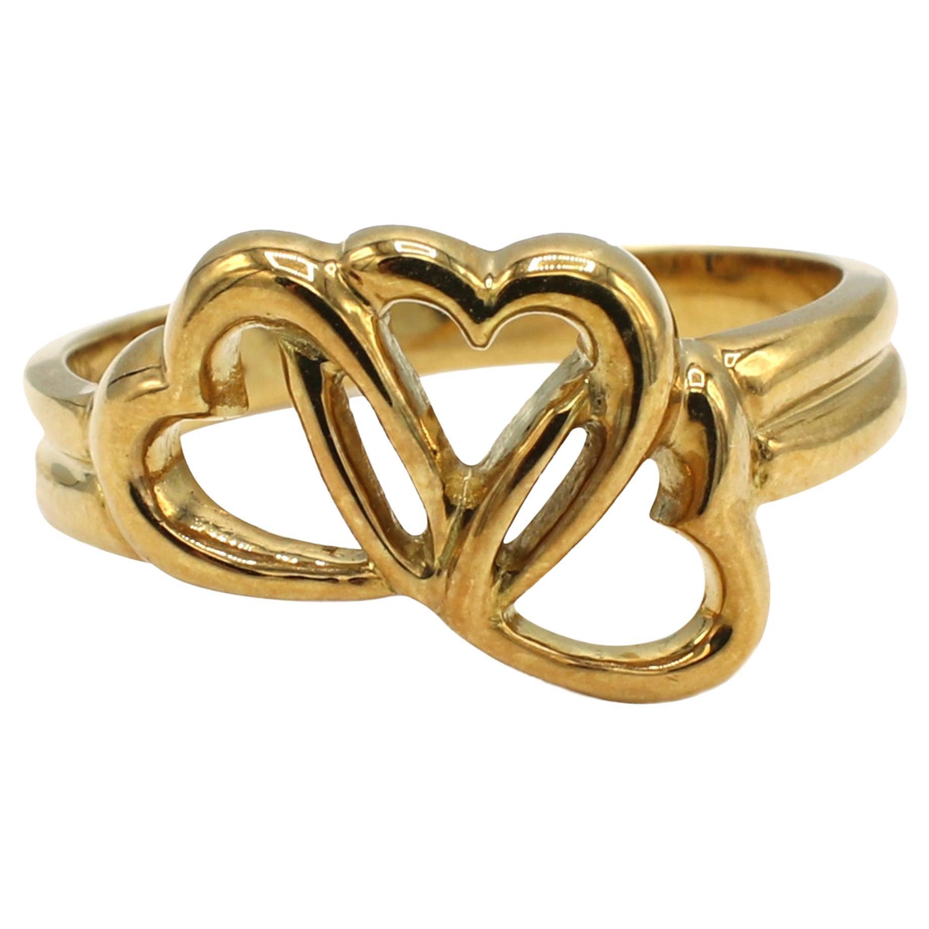 Tiffany & Co. 3 Open Heart 18 Karat Yellow Gold Ring