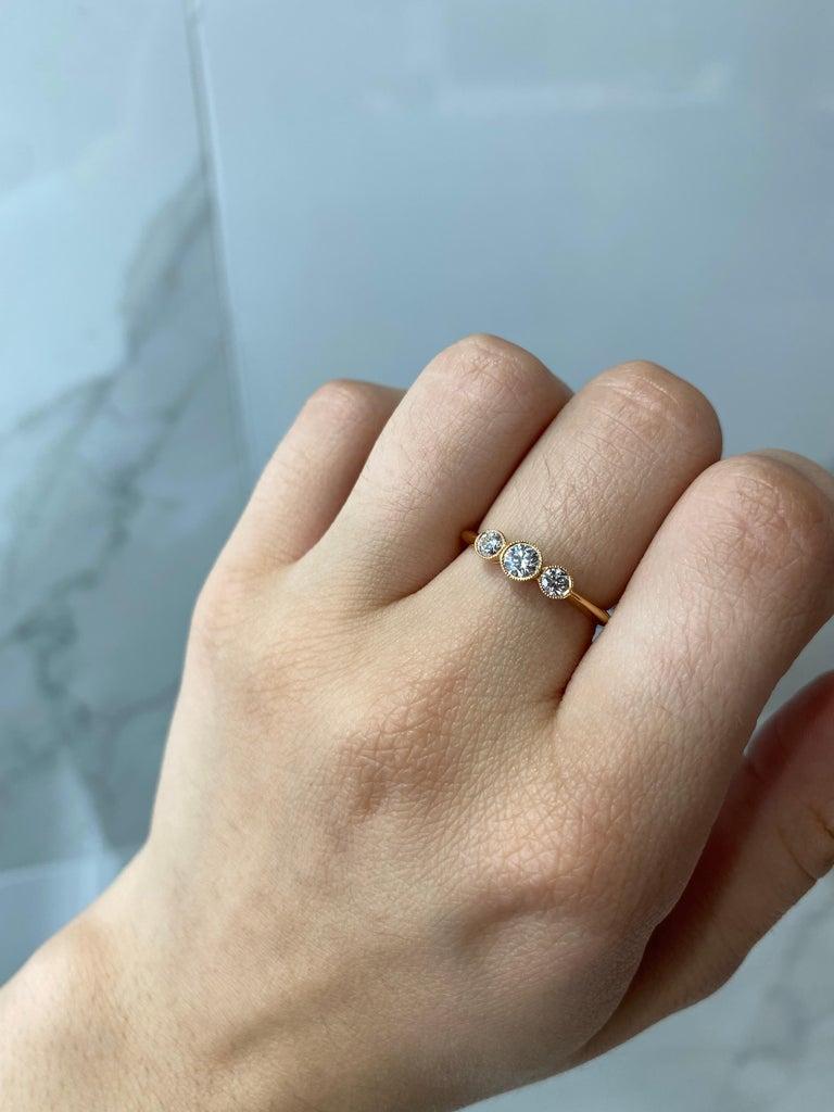 Tiffany & Co. 3-Stone 0.33ctw Round Diamond 18kt Rose Gold Ring 'D-F. VS2-VVS1' For Sale 4