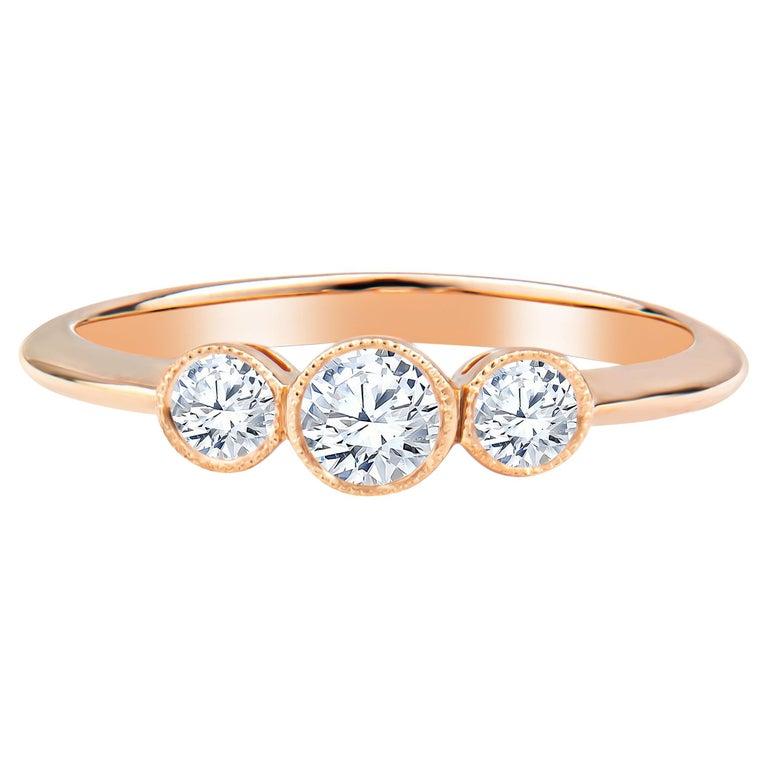 Tiffany & Co. 3-Stone 0.33ctw Round Diamond 18kt Rose Gold Ring 'D-F. VS2-VVS1' For Sale