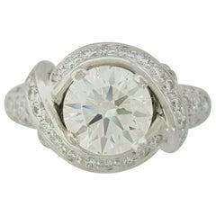 Tiffany & Co. 3.02 Carat Platinum Round Cut Diamond Engagement Ring