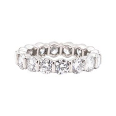 Tiffany & Co. Platinum 3.20 Ct Diamond Eternity Ring Bar Set with Round Cuts 4mm