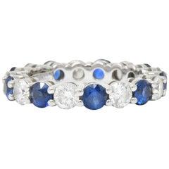 "Tiffany & Co. 3.24 Carat Sapphire Diamond Platinum ""Embrace"" Eternity Band Ring"