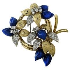 Tiffany & Co. 3.51 Carat Diamond and Lapis Lazuli Brooch Pin