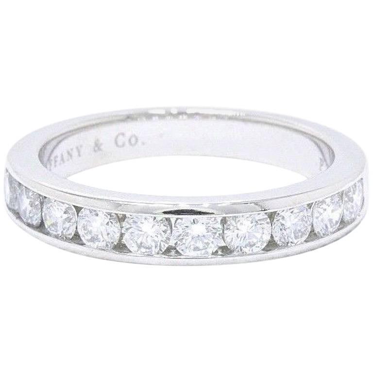 Tiffany Co Platinum Lucida 2mm Wedding Band Ring Sz 8: Tiffany And Co. 3.9 MM Round Brilliant 0.81 TCW Diamond