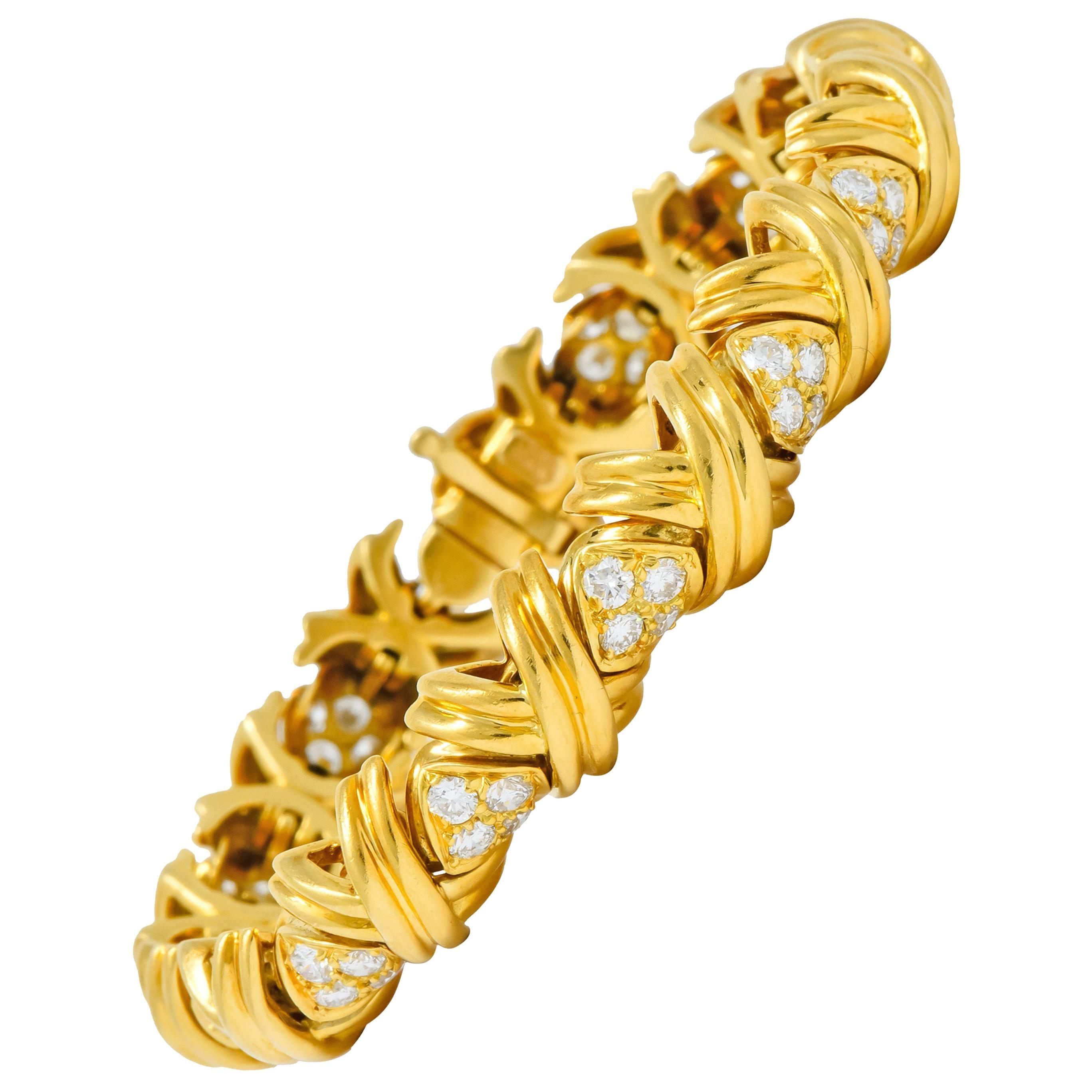 Tiffany & Co. 3.92 Carat Diamond 18 Karat Yellow Gold Signature X Link Bracelet