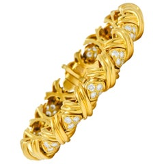 Tiffany & Co. 3.92 Carat Diamond 18 Karat Yellow Gold Signature X Link Bracelet