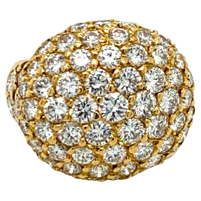 Tiffany & Co. 4.22 Carat Pave Diamond Dome Ring in 18 Karat Yellow Gold For Sale