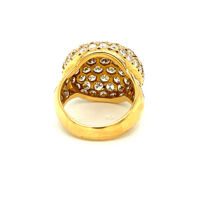 Round Cut Tiffany & Co. 4.22 Carat Pave Diamond Dome Ring in 18 Karat Yellow Gold For Sale