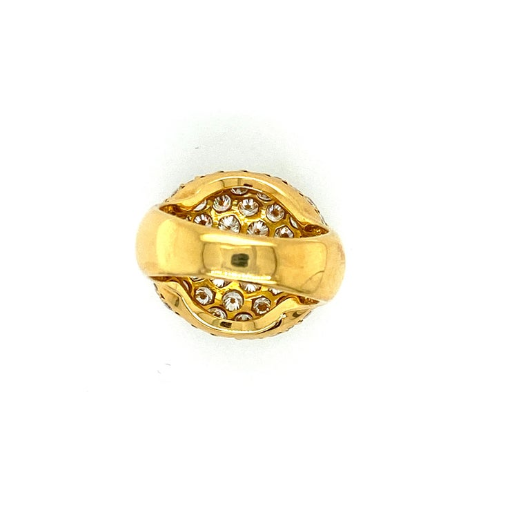 Tiffany & Co. 4.22 Carat Pave Diamond Dome Ring in 18 Karat Yellow Gold In Good Condition For Sale In Dallas, TX