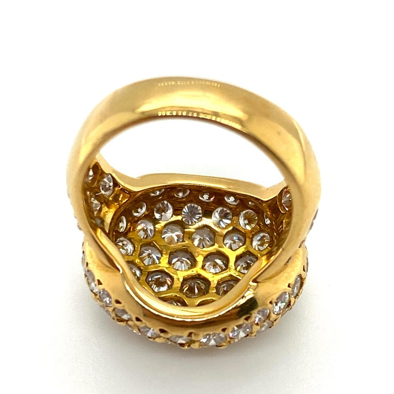 Women's or Men's Tiffany & Co. 4.22 Carat Pave Diamond Dome Ring in 18 Karat Yellow Gold For Sale