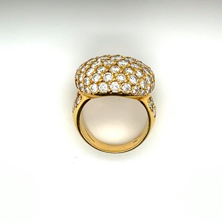 Tiffany & Co. 4.22 Carat Pave Diamond Dome Ring in 18 Karat Yellow Gold For Sale 1