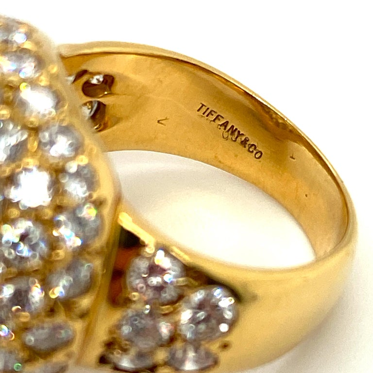 Tiffany & Co. 4.22 Carat Pave Diamond Dome Ring in 18 Karat Yellow Gold For Sale 2