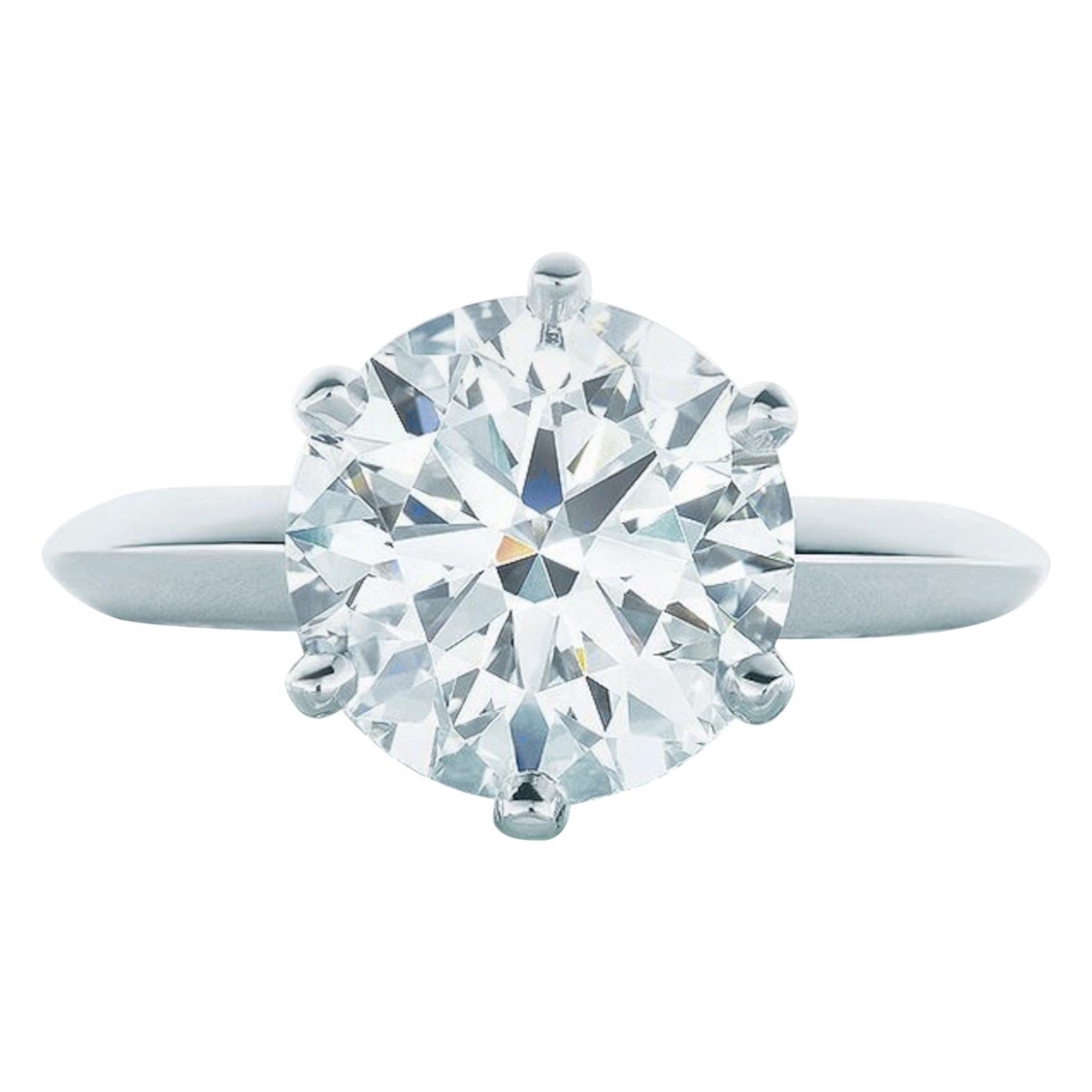 Tiffany & Co. 4.10 Carat Round Brilliant Cut Platinum Ring