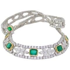 Tiffany & Co 46.16 Carat Platinum Colombian Emerald Diamond Necklace Investment