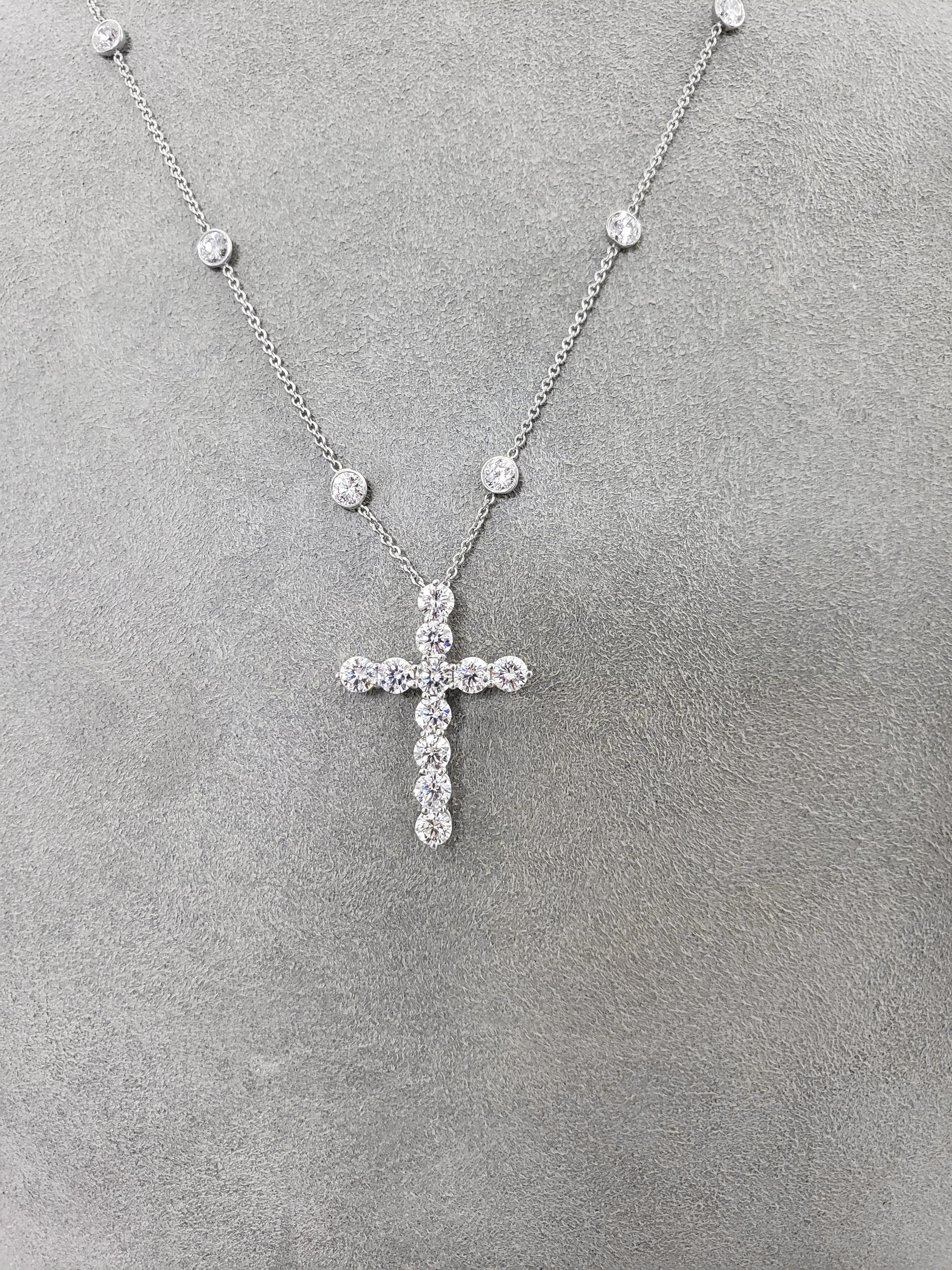 d97b736d9 Tiffany and Co. 4.75 Carat Diamond Cross Pendant Necklace For Sale at  1stdibs