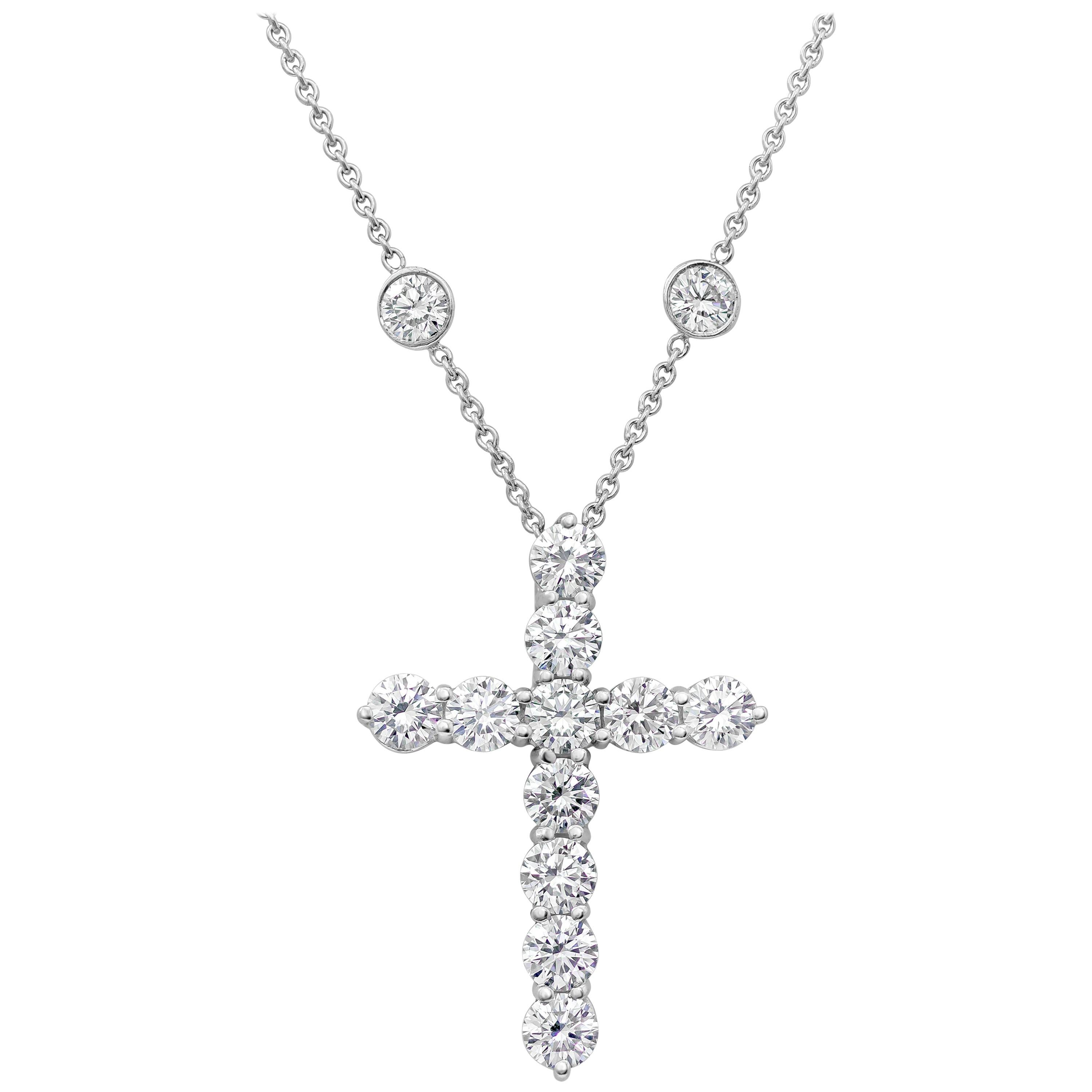 78d1cce0e Tiffany and Co. 4.75 Carat Diamond Cross Pendant Necklace For Sale at  1stdibs