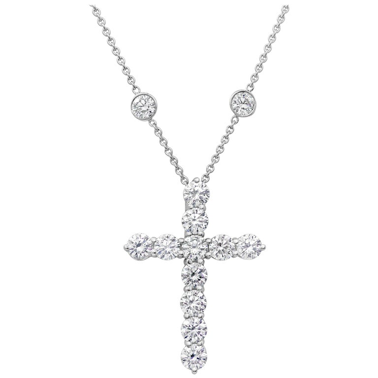 091ac4dfb Tiffany and Co. 4.75 Carat Diamond Cross Pendant Necklace For Sale ...