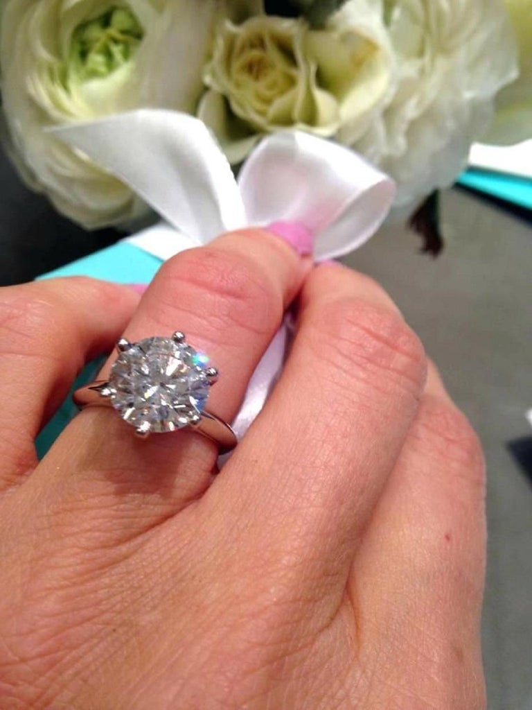 Modern Tiffany & Co. 5 Carat Solitaire Round Brilliant Cut Platinum Ring For Sale