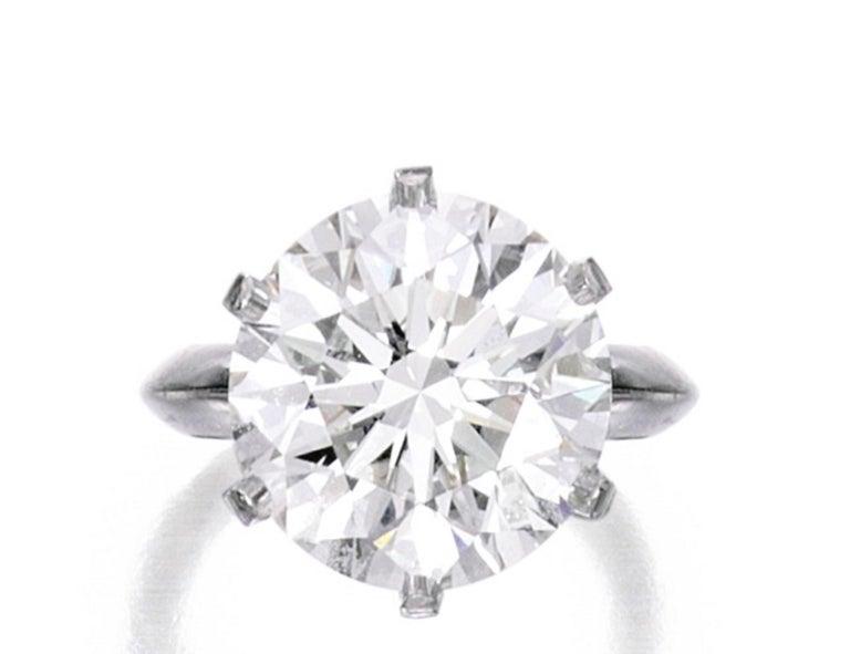 Round Cut Tiffany & Co. 5 Carat Solitaire Round Brilliant Cut Platinum Ring For Sale