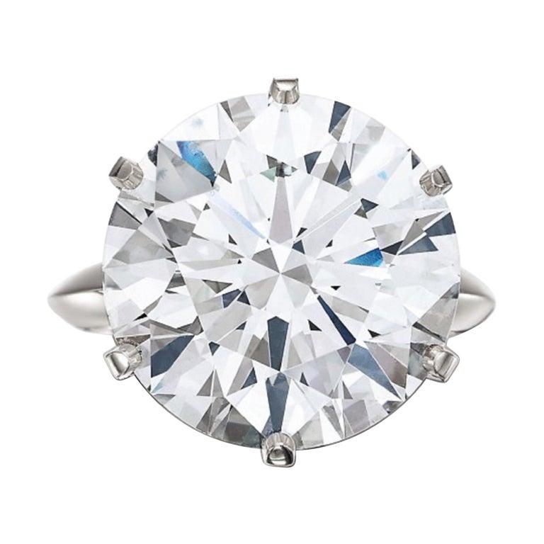 Tiffany & Co. 5 Carat Solitaire Round Brilliant Cut Platinum Ring For Sale