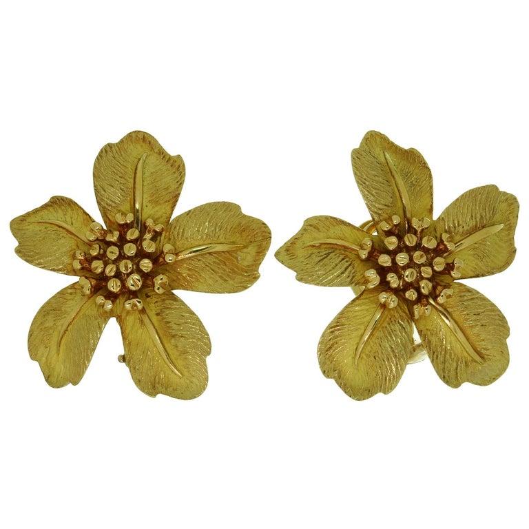 Tiffany & Co. 5 Petal Flower Yellow Gold Earrings For Sale