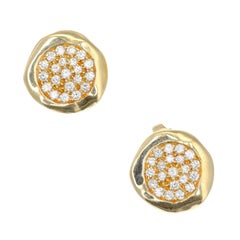 Tiffany & Co. .50 Carat Pave Diamond Yellow Gold Cluster Earrings