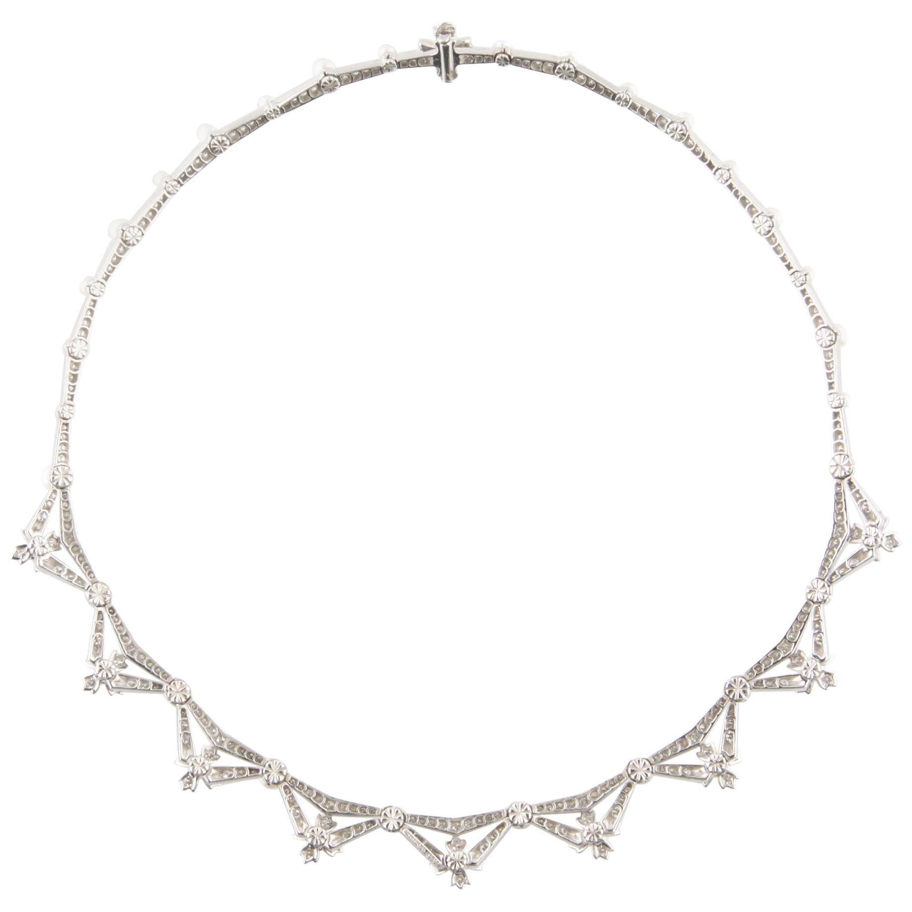 Tiffany & Co. 5.00 Carat Diamond and Pearl Platinum Necklace