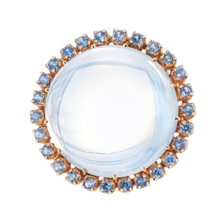 Tiffany & Co. 50.00 Carat Moonstone Sapphire Yellow Gold Brooch For Sale