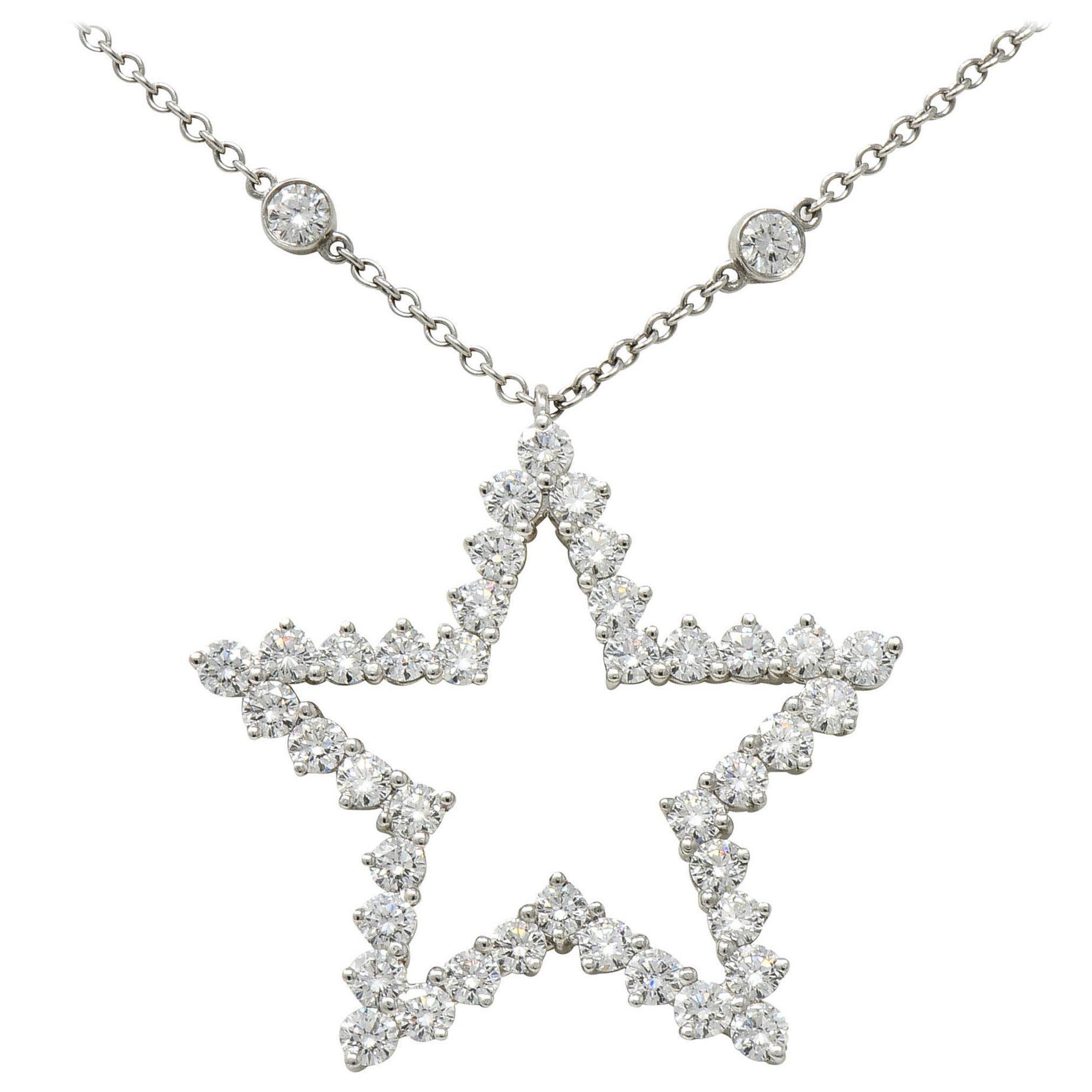 Tiffany & Co. 5.56 Carat Diamond Platinum Diamonds-By-The-Yard Star Necklace