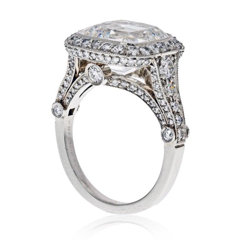 Modern Tiffany & Co. 5.56 Carat E VS2 Cushion-Cut Diamond Legacy Platinum Ring For Sale