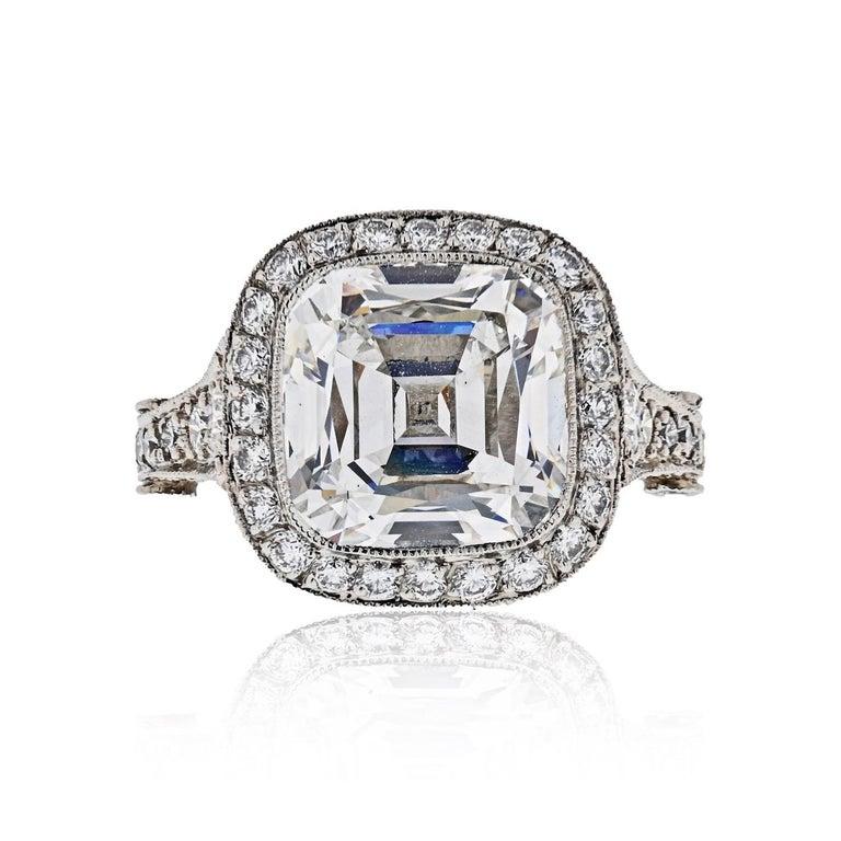 Cushion Cut Tiffany & Co. 5.56 Carat E VS2 Cushion-Cut Diamond Legacy Platinum Ring For Sale