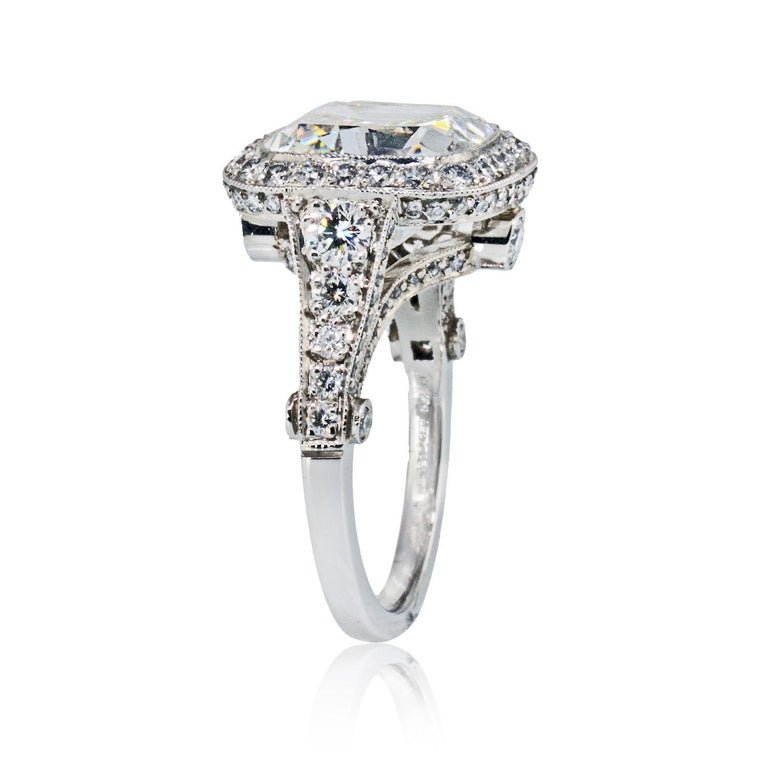 Tiffany & Co. 5.56 Carat E VS2 Cushion-Cut Diamond Legacy Platinum Ring In New Condition For Sale In New York, NY
