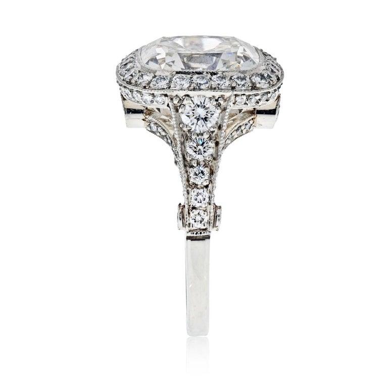Women's Tiffany & Co. 5.56 Carat E VS2 Cushion-Cut Diamond Legacy Platinum Ring For Sale