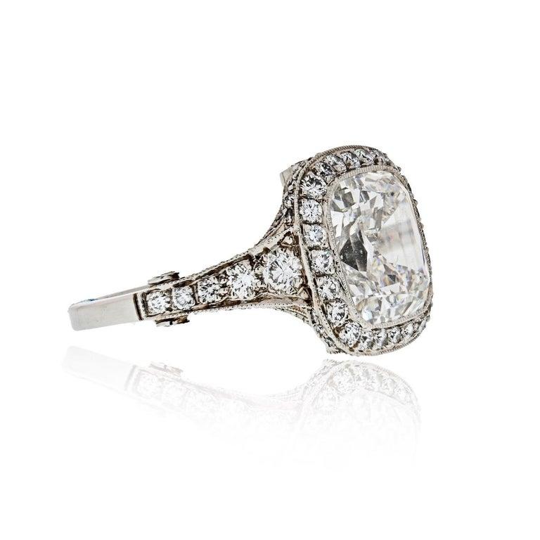 Tiffany & Co. 5.56 Carat E VS2 Cushion-Cut Diamond Legacy Platinum Ring For Sale 1