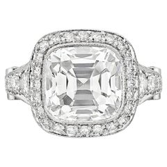 Tiffany & Co. 5.56 Carat E VS2 Cushion-Cut Diamond Legacy Platinum Ring