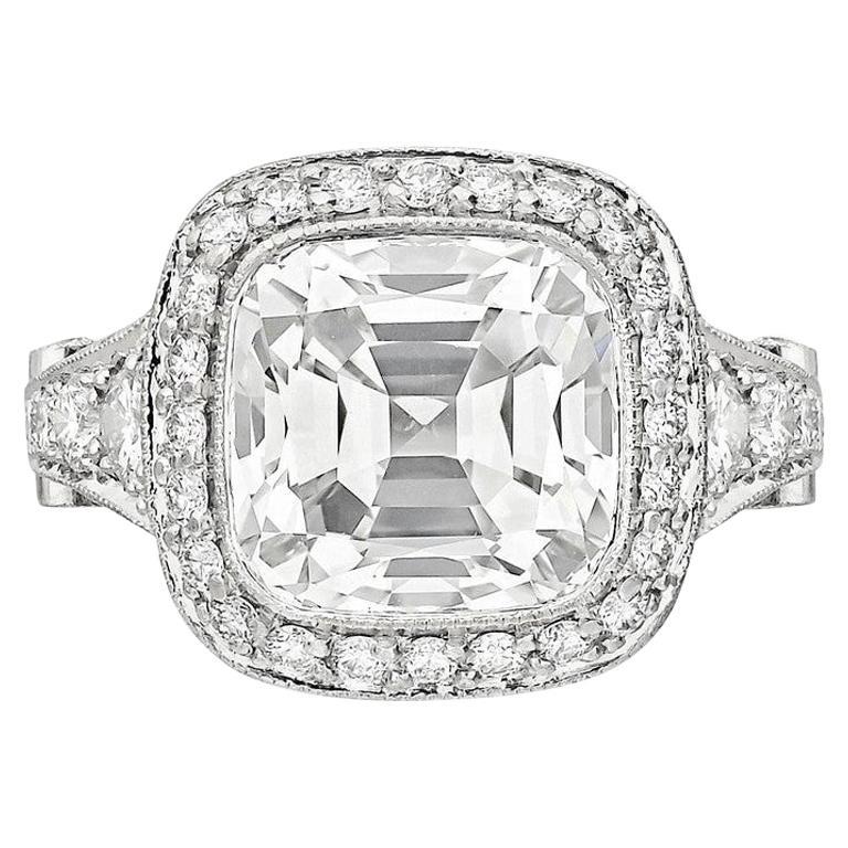 Tiffany & Co. 5.56 Carat E VS2 Cushion-Cut Diamond Legacy Platinum Ring For Sale